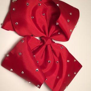 Red Jojo Siwa bow with silver rhinestones 6 in